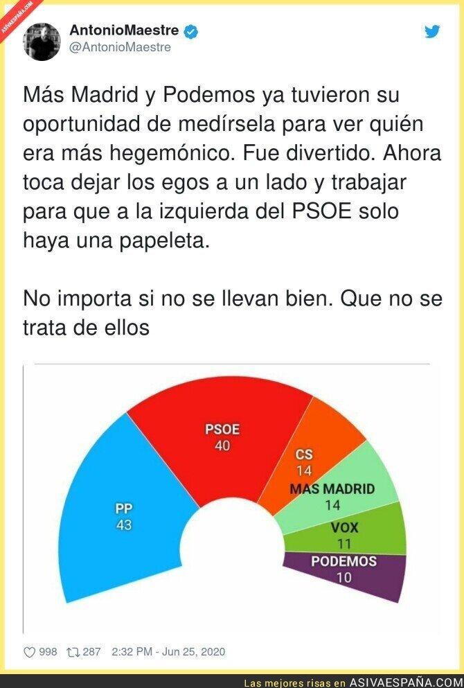 241566 - El trabajo en común que deben hacer Podemos y Más Madrid