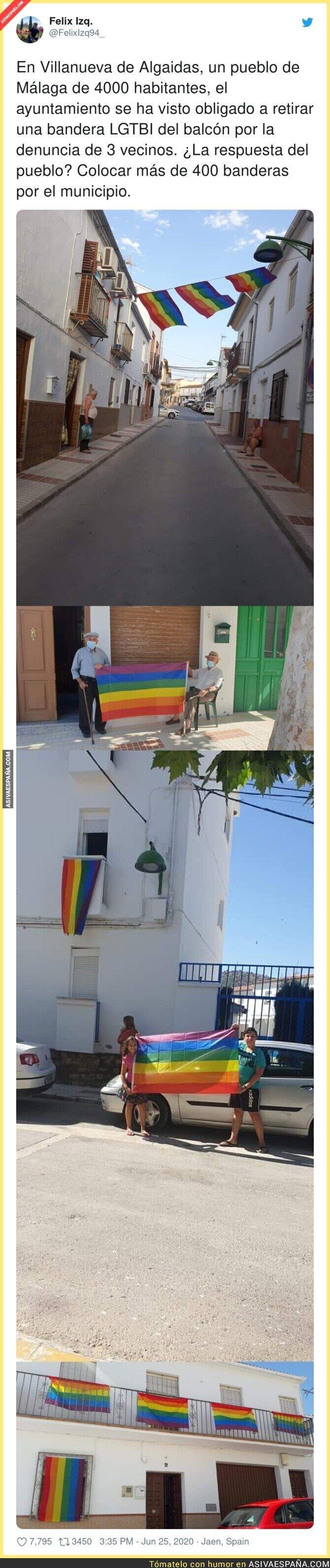 241689 - La gran respuesta del pueblo Villanueva de Algaidas tras verse obligado a retirar una bandera LGTBI de un balcón