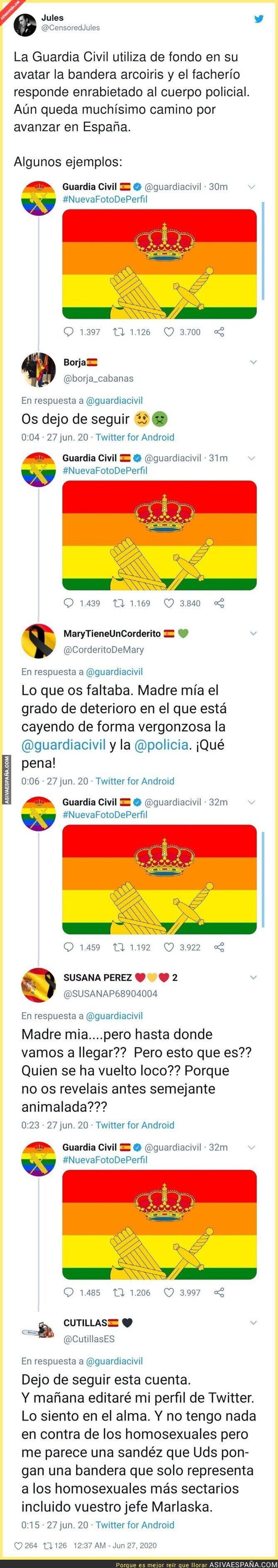 244161 - La Guardia Civil se pone la bandera LGTB y no tardan en llegarle todas estas respuestas de patriotas españoles
