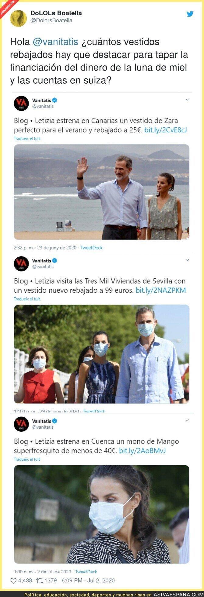 253403 - El diario Vanitatis intenta blanquear a la Reina Letizia con estas noticias sobre sus vestidos sin descaro