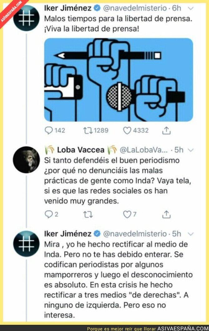 257762 - Iker Jiménez le da un repaso a un usuario de Twitter tras quejarse que no denuncia las informaciones de Eduardo Inda