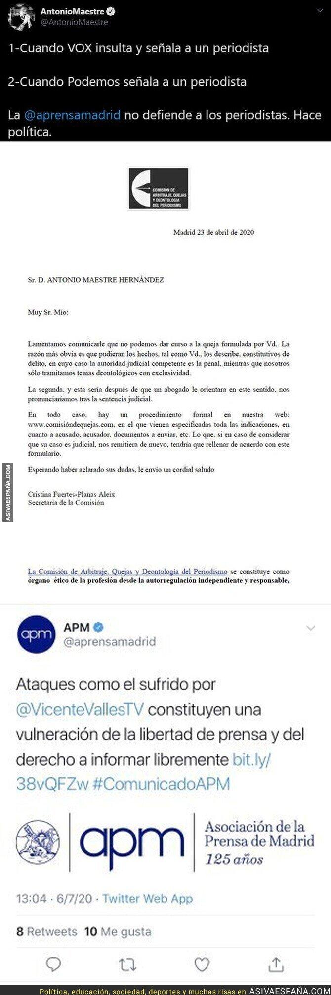 258540 - El doble rasero increíble de la Asociación de la Prensa de Madrid cuando un partido señala a periodistas depende de qué partido sea
