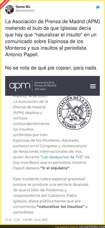 272032 - La Asociación de la Prensa de Madrid difundiendo bulos y culpa a Pablo Iglesias
