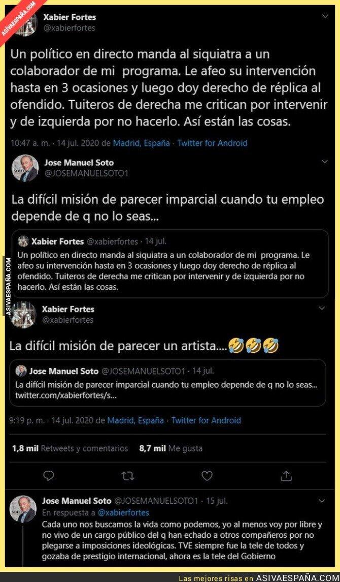 273327 - Xabier Fortes le pega un revés importante a José Manuel Soto tras dudar de su profesionalidad