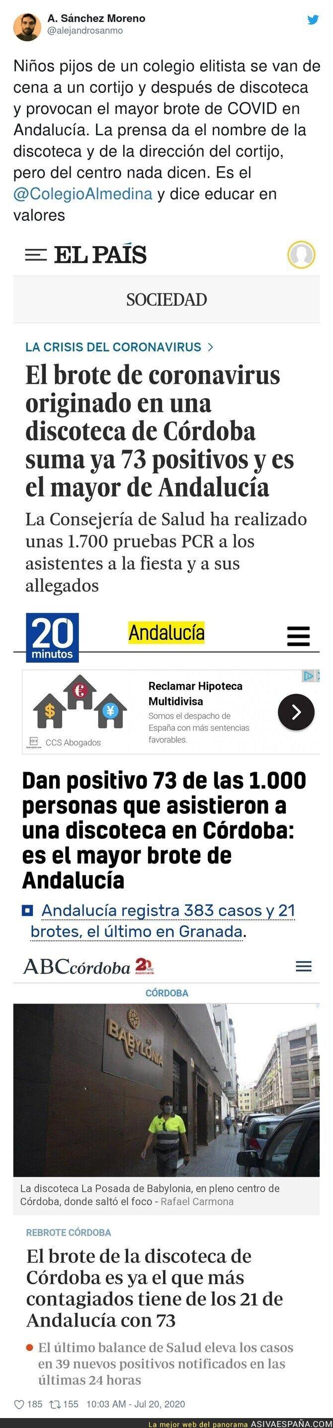 280150 - Este es el nombre del colegio de pijos que han provocado el gran brote en una discoteca de Córdoba y que los medios ocultan