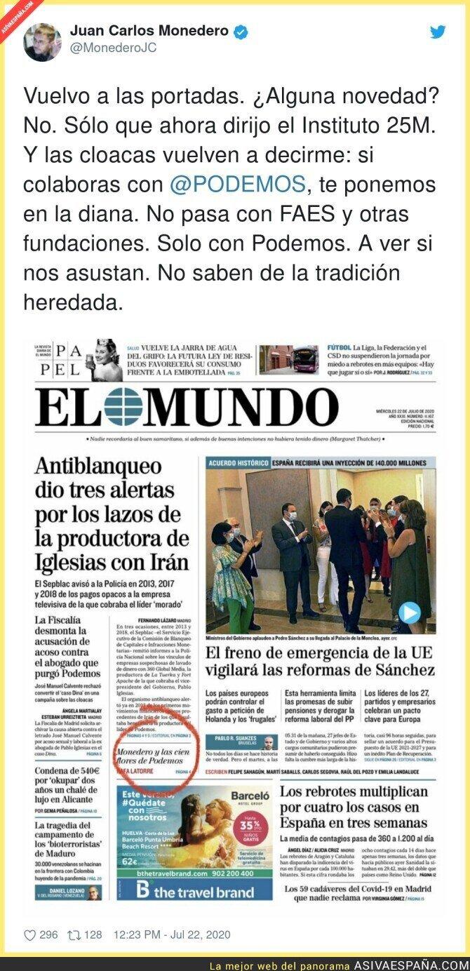 283381 - Juan Carlos Monedero como blanco fácil para criticar a Podemos