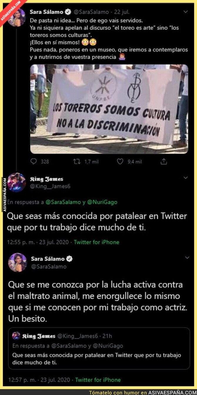 284668 - Sara Sálamo le da en toda la boca a un listillo de Twitter tras reivindicarse contra los toreros