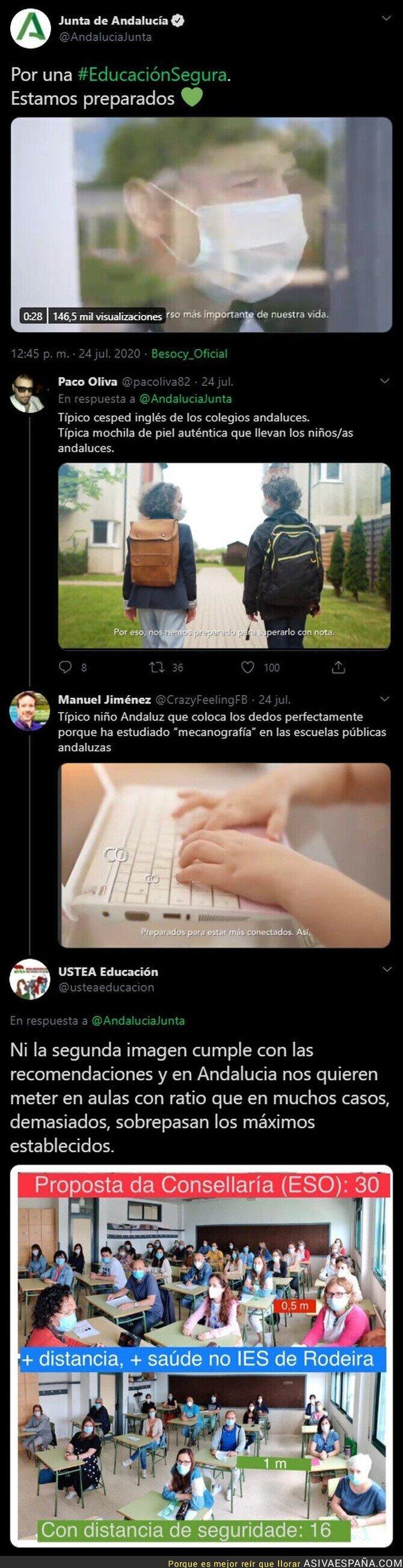288000 - Críticas a la Junta de Andalucía por este spot sobre la vuelta al colegio en plena pandemia