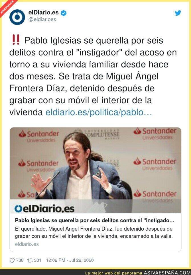 293525 - Pablo Iglesias ha aguantado lo que no está escrito con el acoso diario en su casa