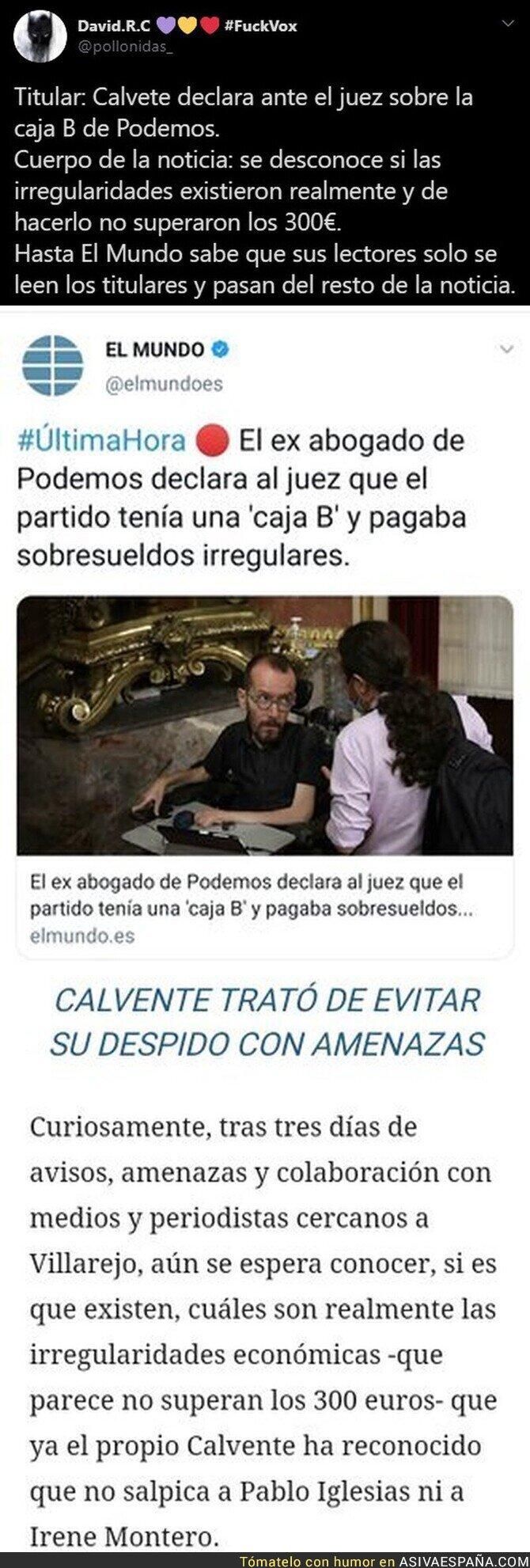 295314 - Así manipula 'El Mundo' sus titulares cuando en la noticia dicen algo completamente diferente sobre Podemos