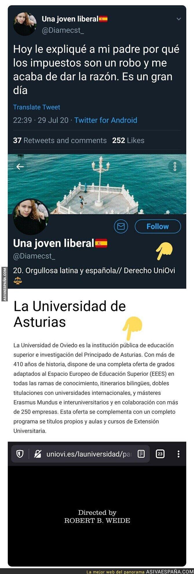 295372 - Atención al tuit de esta chica sobre los impuestos y lo más preocupante es donde estudia