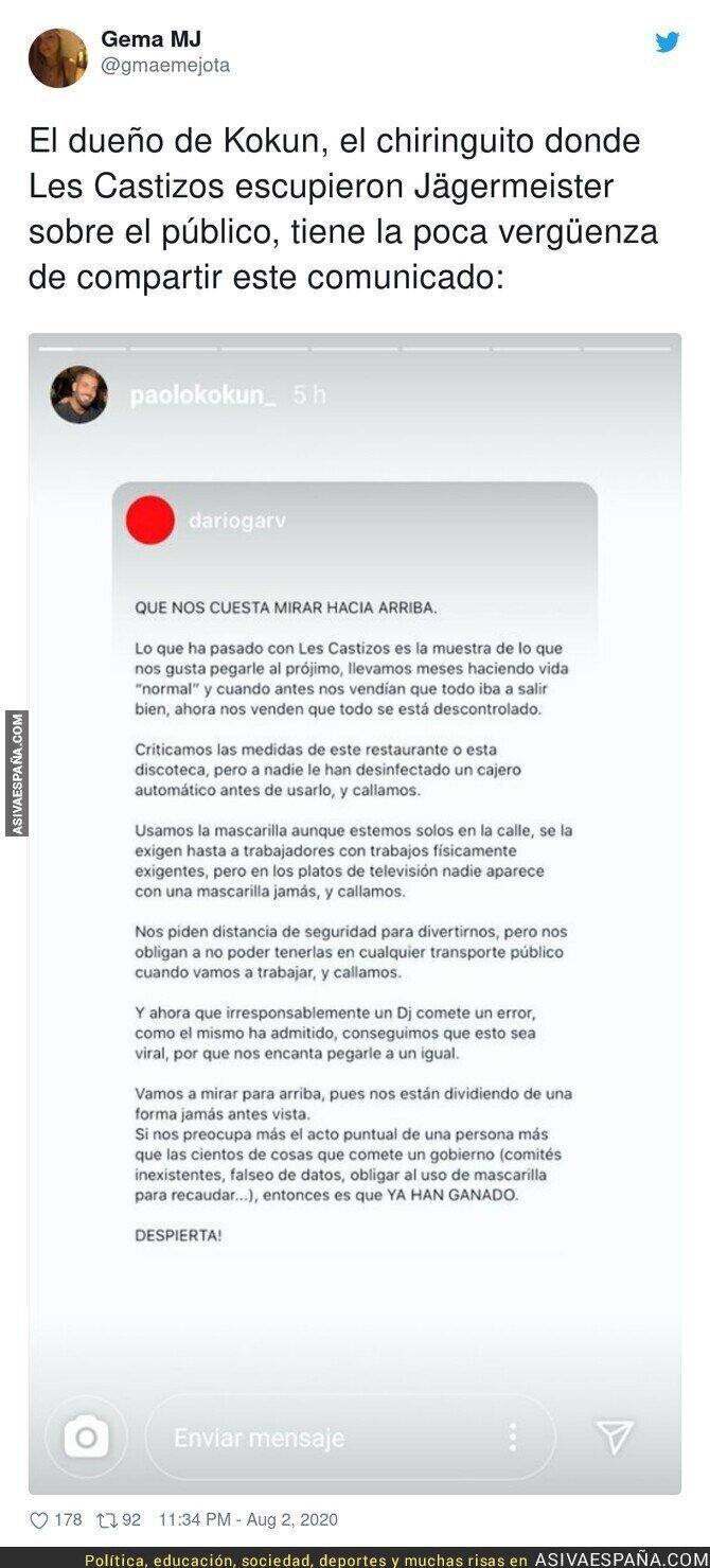 300863 - Que poca vergüenza tiene la gente en plena pandemia tras liarla en el Chiringuito Les Castizos