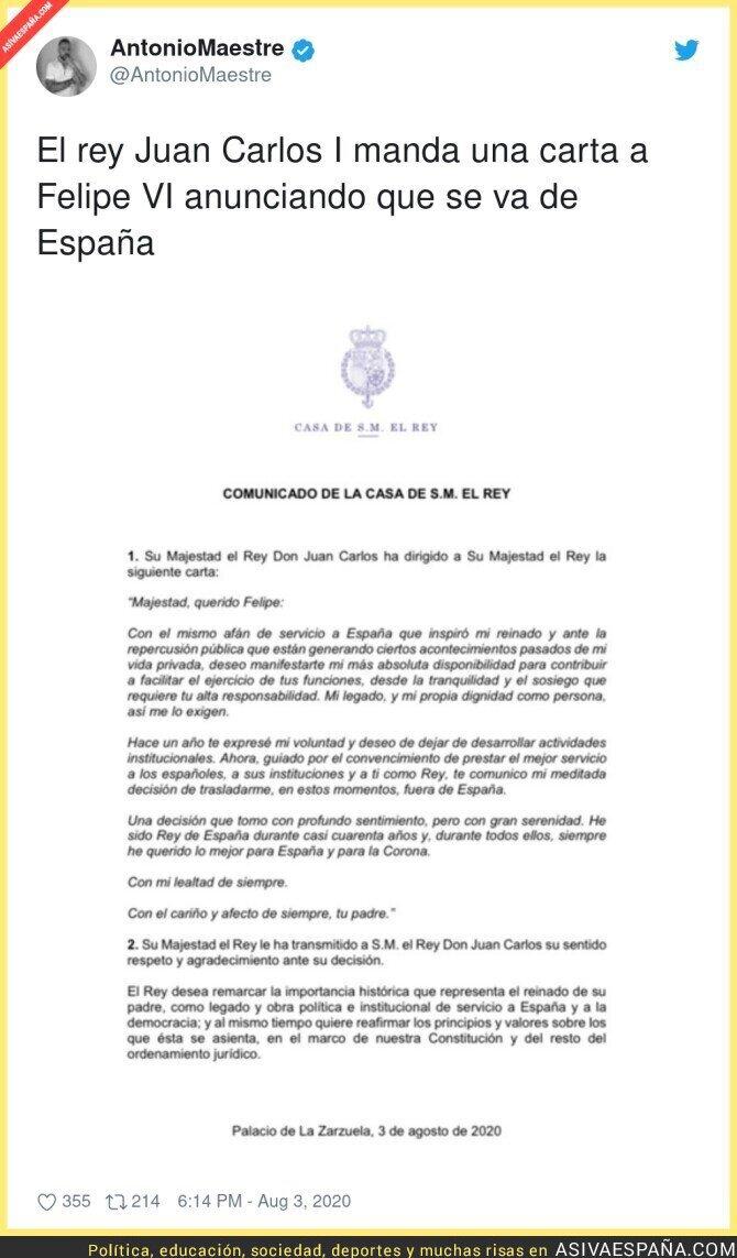 302029 - La histórica carta del Rey Juan Carlos I al Rey Felipe VI anunciando que se va de España