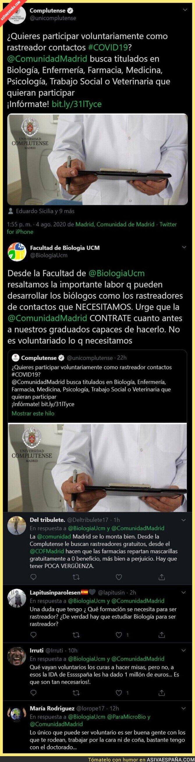 305912 - La facultad de Biología de la UCM le da un ZASCA monumental a la Complutense de Madrid por buscar voluntarios contra el COVID19