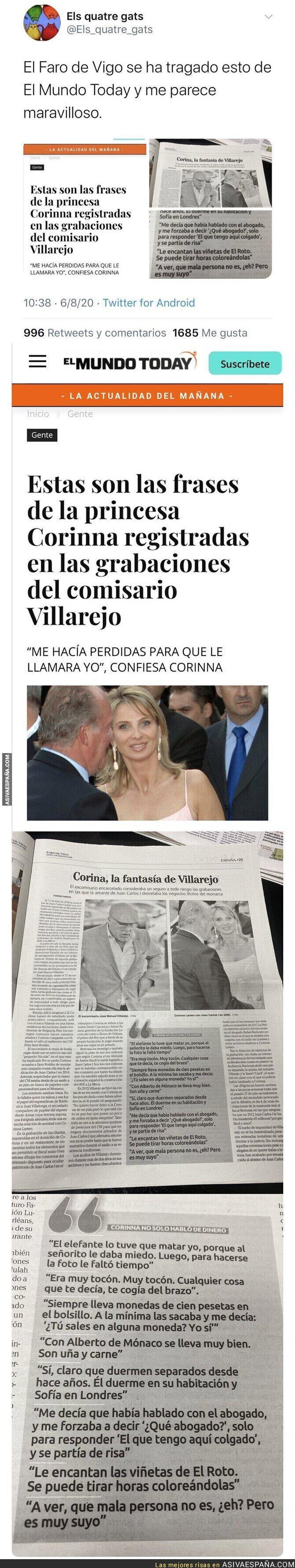 307764 - Espectacular: El 'Faro de Vigo' da como noticia real todas estas frases falsas de Corinna salidas de 'El Mundo Today'