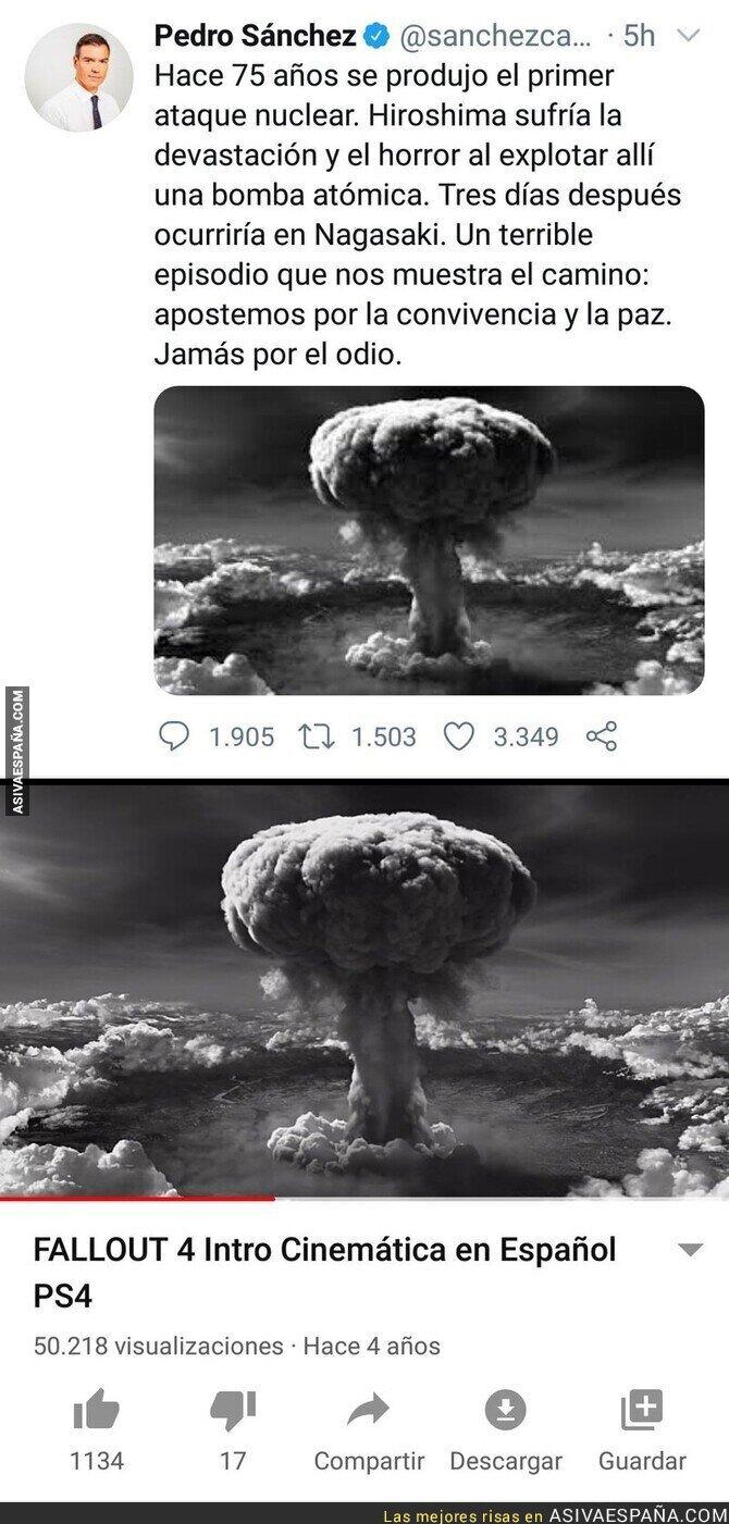 308011 - Pedro Sánchez usa una imagen del 'Fallout 4' para recordar el 75 aniversario de la bomba atómica en Hiroshima