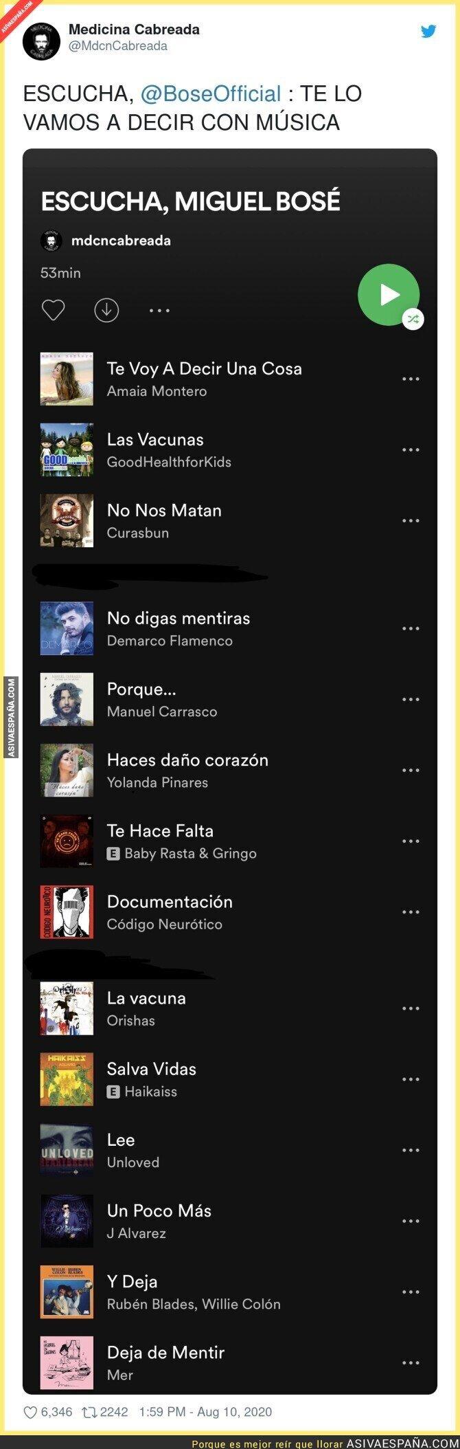 316155 - Le dedican a Miguel Bosé una lista de Spotify con canciones con un mensaje muy claro sobre las vacunas