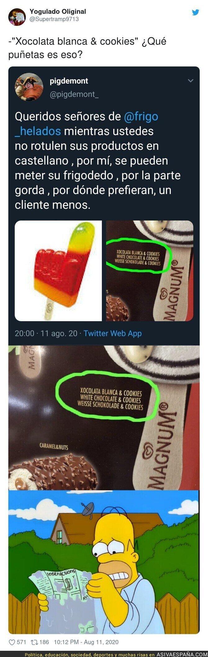 317062 - La catalanofobia llega a este paquete de helados Magnum y que esta persona se queja por el idioma con este mensaje