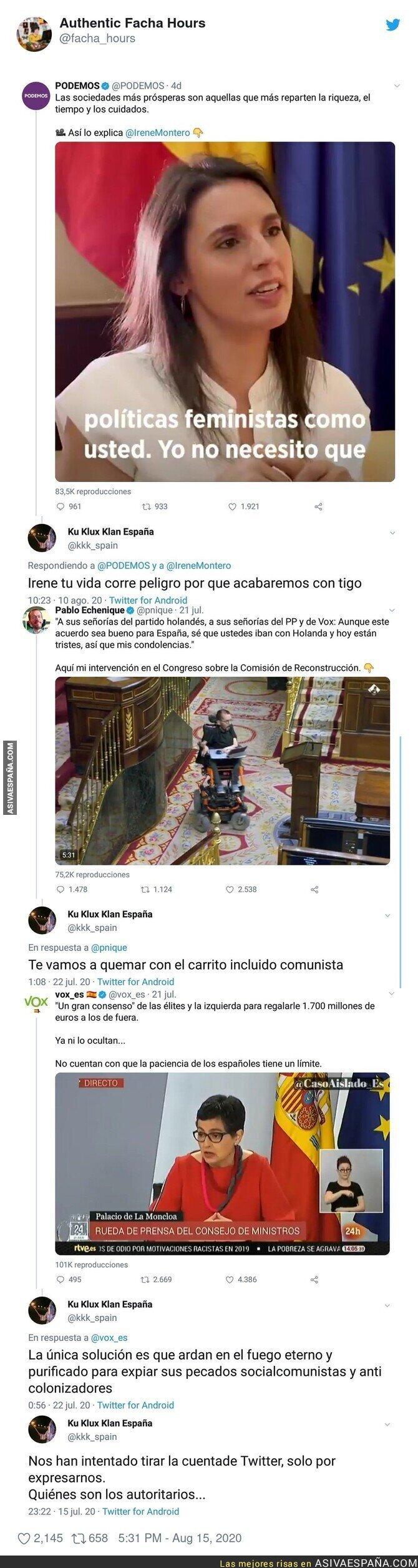 323062 - La cuenta de 'Ku Klux Klan España' se hace la ofendida tras poner todos estos mensajes a miembros de Podemos