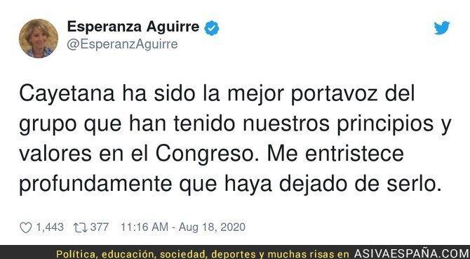 327524 - Esperanza Aguirre y su tristeza por la marcha de Cayetana del PP