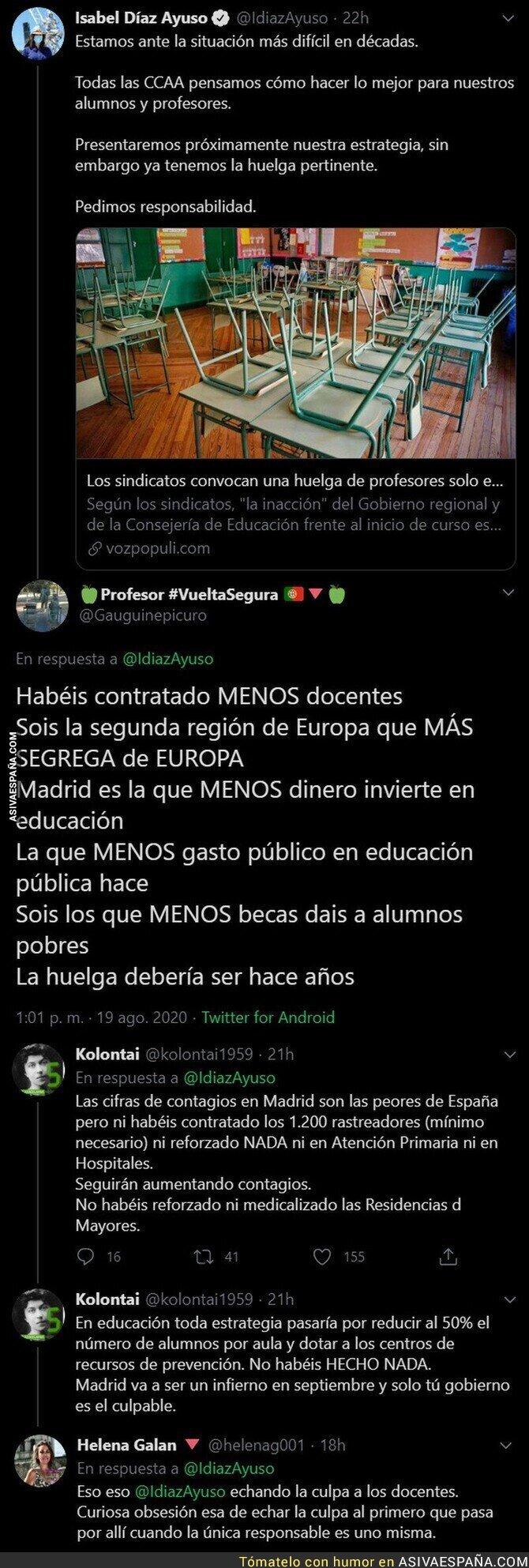 329590 - Isabel Díaz Ayuso no ha tardado ni un segundo en echar la culpa a los profesores con este mensaje