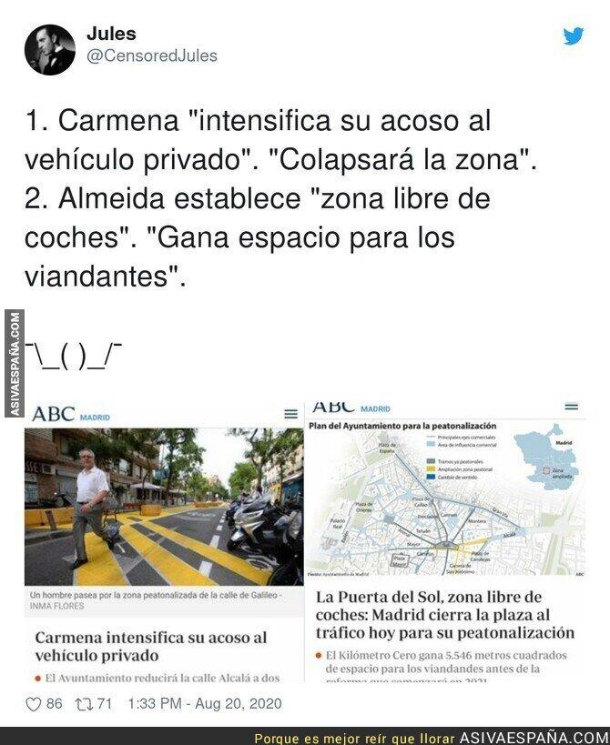 331315 - Así titula ABC depende quien peatonalice Madrid