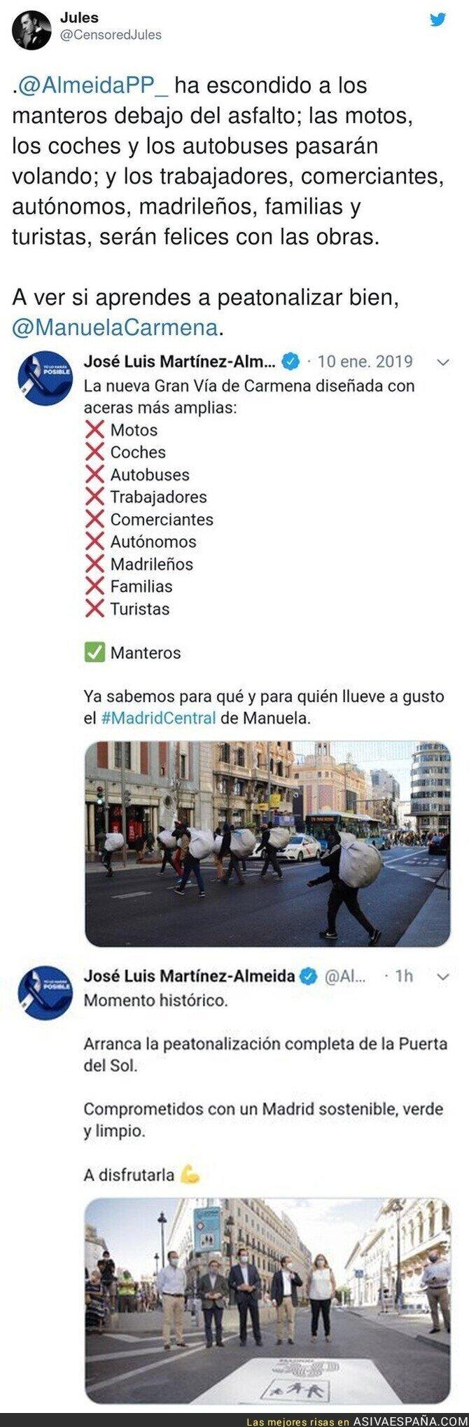 331414 - Como cambia la historia cuando peatonaliza Manuela Carmena o José Luis Martínez Almeida