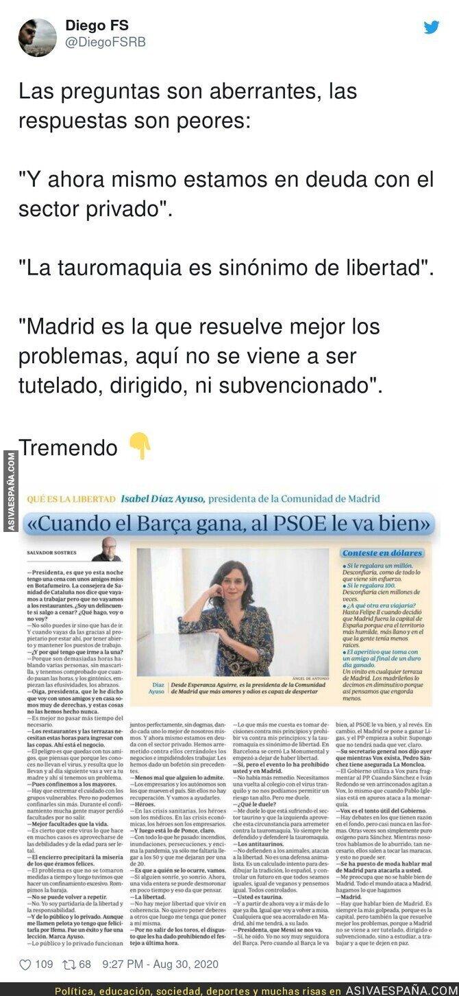 347370 - Isabel Díaz Ayuso se luce en esta entrevista con respuestas que dan auténtica vergüenza ajena e indignación