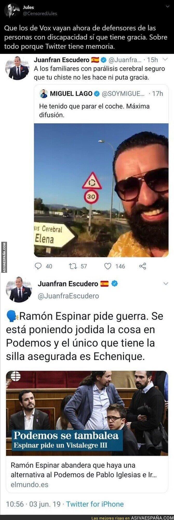 347878 - Juanfran Escudero queda totalmente retratado después de ofenderse por humor negro tras él haber tuiteado esto sobre Pablo Echenique