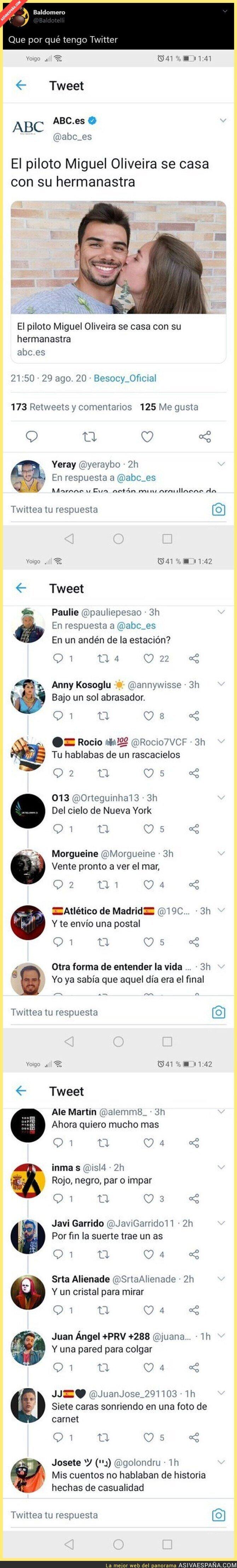 350730 - El piloto Miguel Oliveira anuncia que se casa con su hermanastra y Twitter hace su magia en las respuestas de la noticia