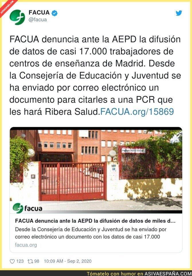 351030 - Liada máxima de Isabel Díaz Ayuso con los profesores y sus datos privados