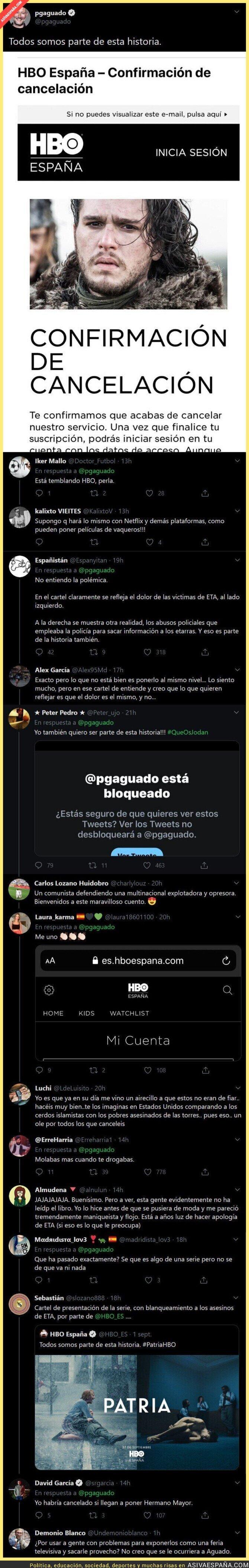 352518 - Las respuestas a Pedro García Aguado tras anunciar que se da de baja de HBO por el 'polémico' cartel de la serie PATRIA