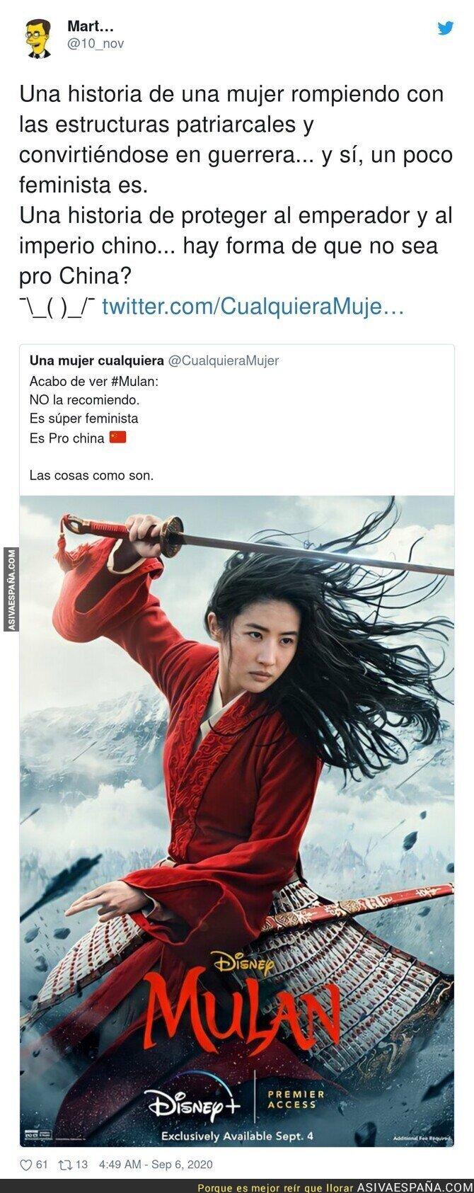 356913 - Quejas porque Mulán de Disney+ es pro China y demasiado feminista