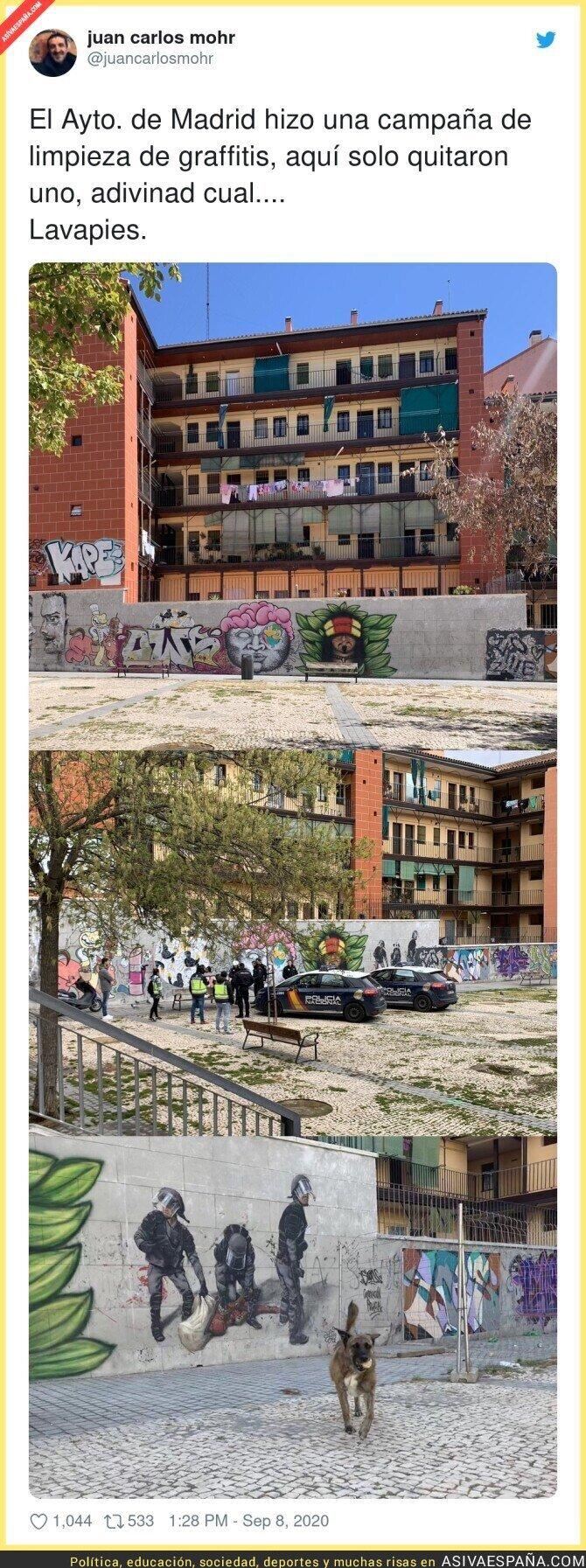 360047 - El ayuntamiento de Madrid es selectivo a la hora de borrar graffitis