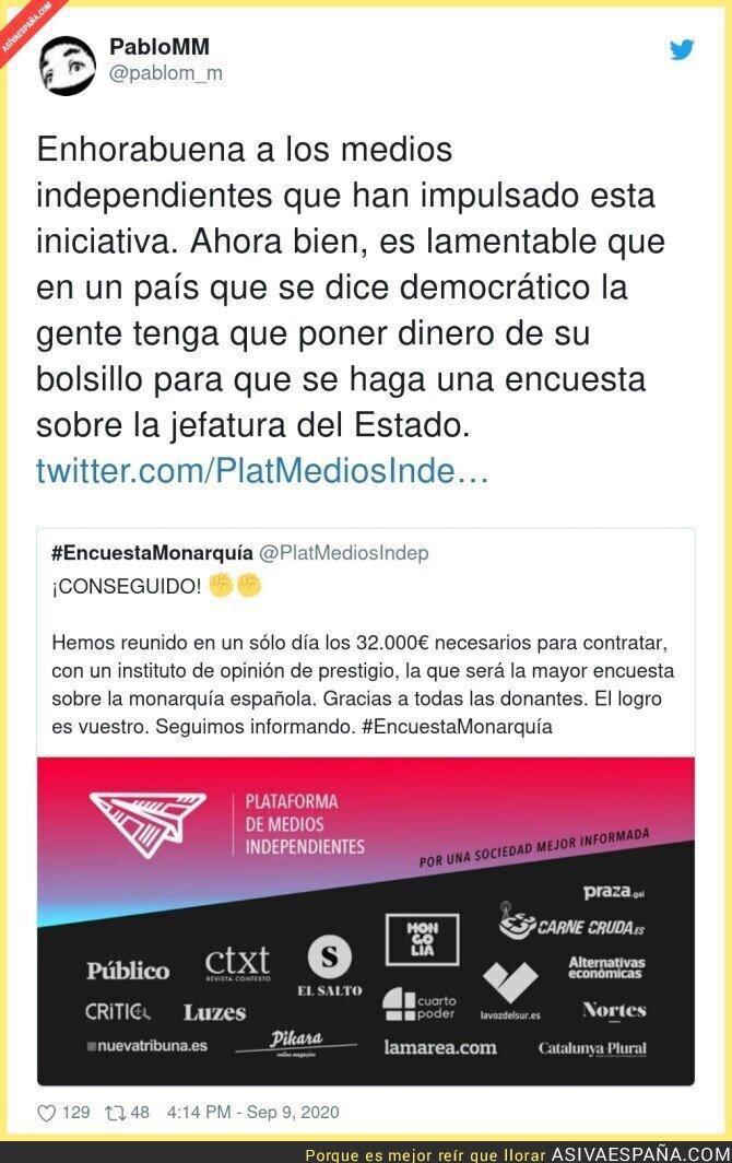 361785 - Plataforma de Medios Independientes consigue 32.000€ para hacer una encuesta sobre la Monarquía que el CIS no se atreve a hacer