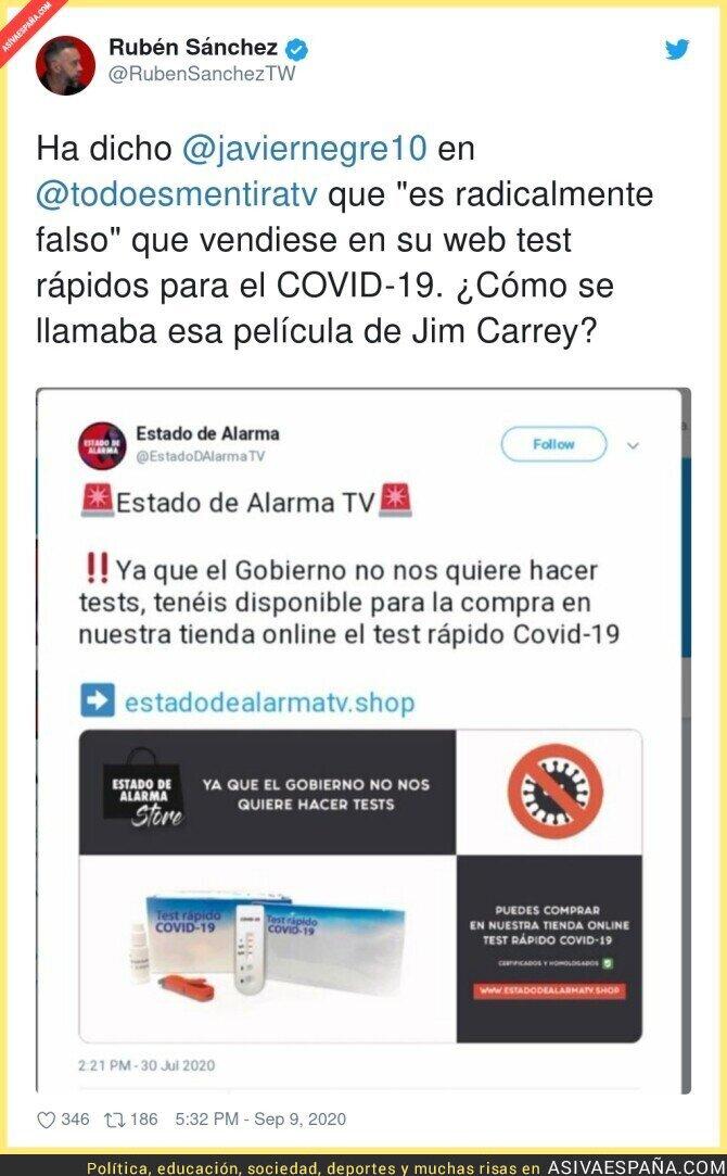 361926 - Javier Negre vuelve a mentir ahora con los test que SI vendía en su web