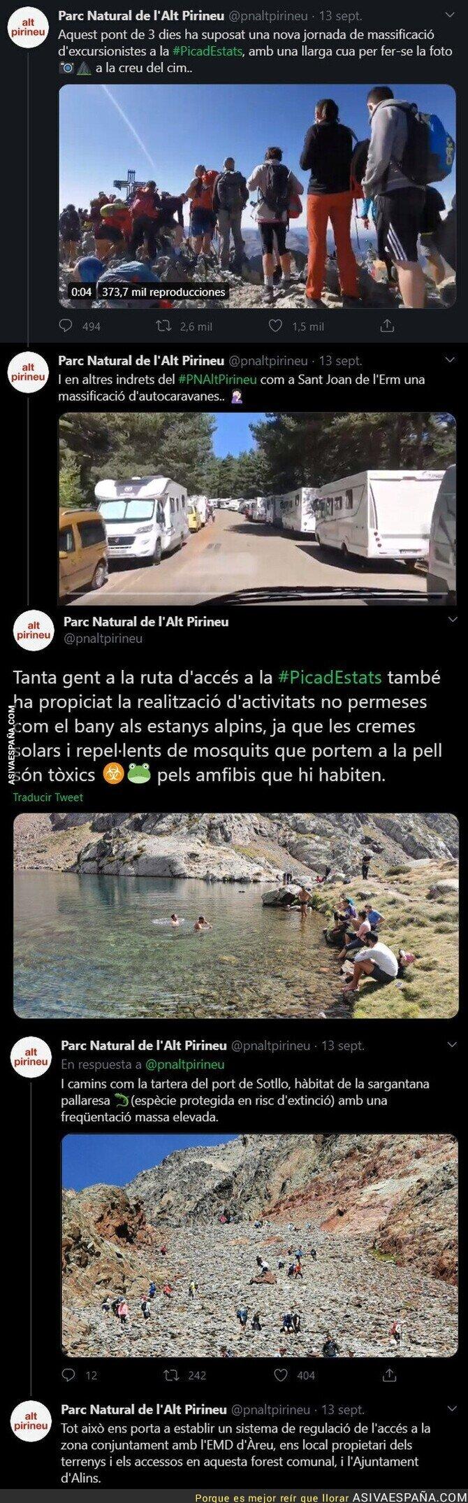 366492 - De locos: las imágenes en La Pica d'Estats repleta de gente en este fin de semana y sin protección