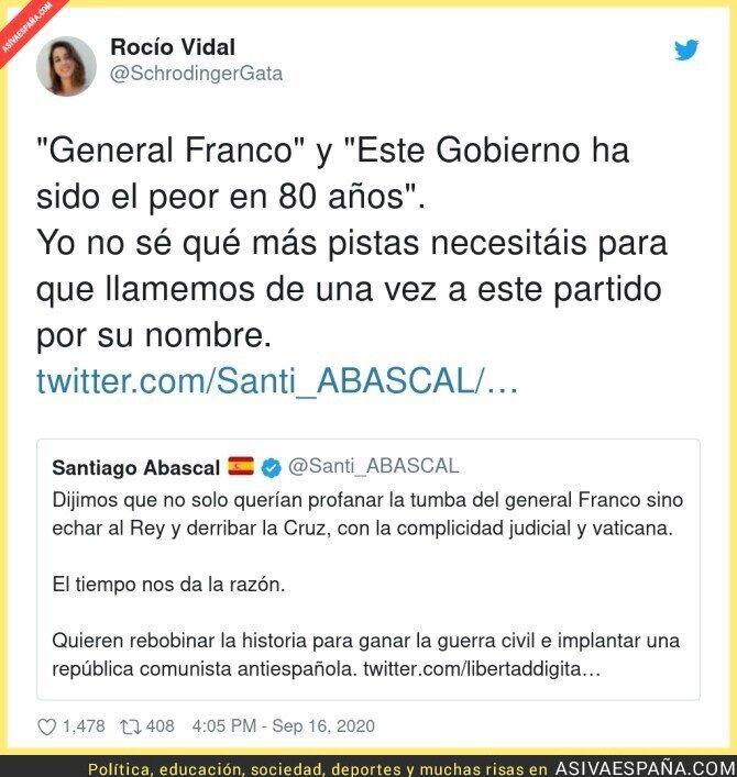 370166 - El tuit de Santiago Abascal que deja claro que es un fascista por mucho que lo quiera ocultar
