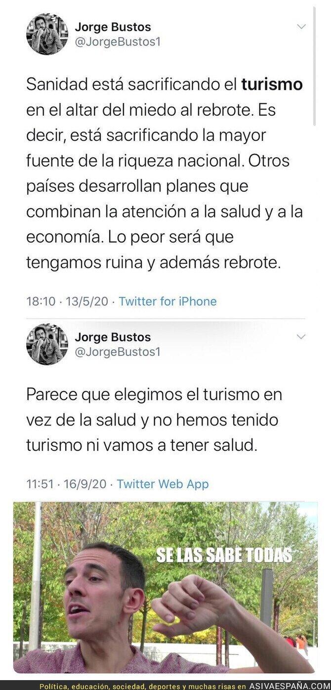 370266 - Simplemente Jorge Bustos contradiciéndose sobre el turismo y la salud en pocos meses