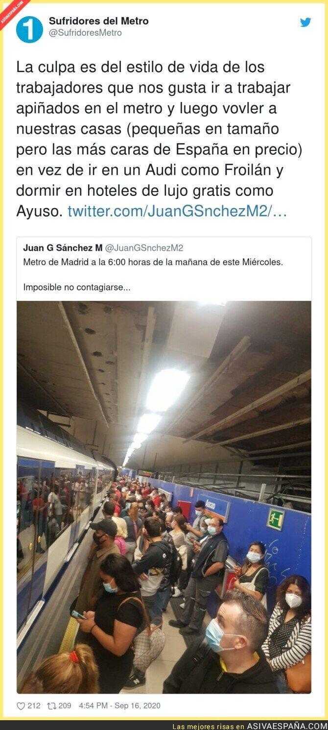 370533 - La dura vida de la gente que va en Metro destinada a contagiarse por culpa de Isabel Díaz Ayuso