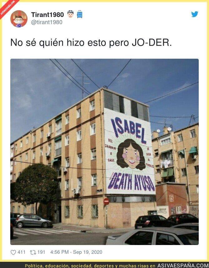 375005 - Pancarta más que merecida para Isabel Díaz Ayuso