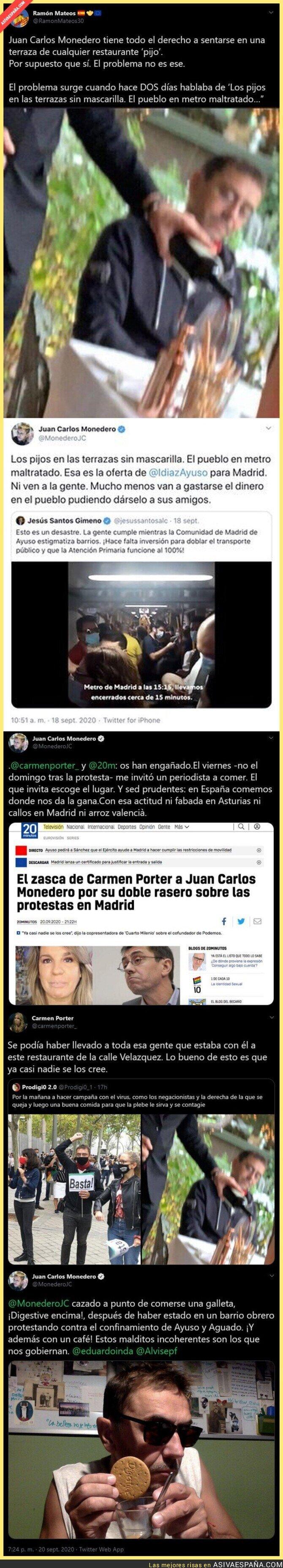 377264 - El ZASCA de Juan Carlos Monedero a Carmen Porter tras criticar que fuese a comer a un restaurante del barrio Salamanca tras manifestarse en Vallecas