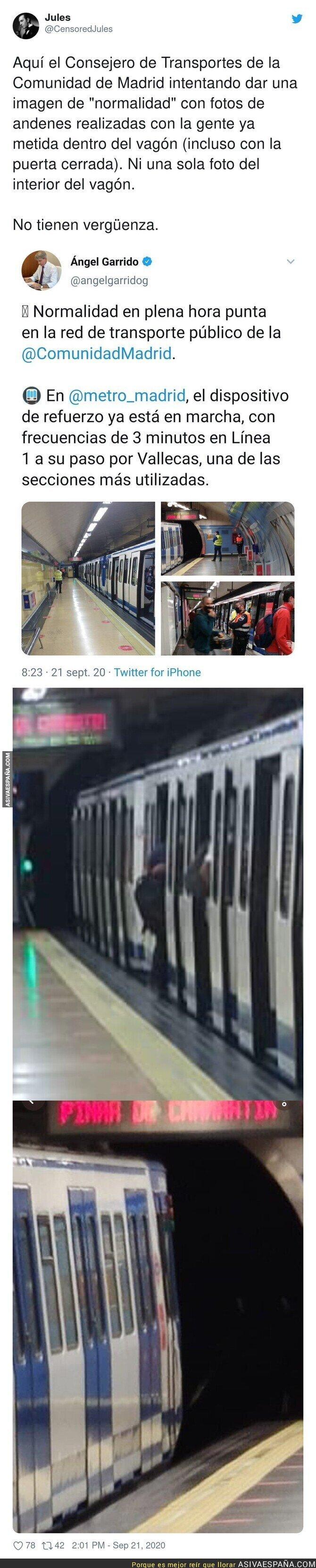 377724 - La manipulación extrema del Consejero de Transportes de la Comunidad de Madrid subiendo estas imágenes