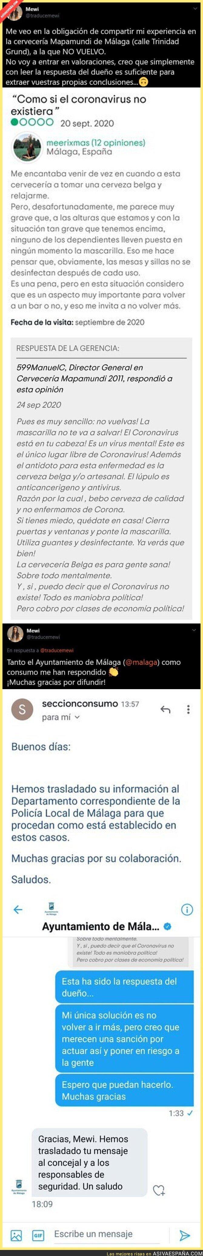 390249 - Lío monumental por como ha respondido el jefe de esta cervecería de Málaga a una usuaria que se quejaba del NO uso de la mascarilla en su local