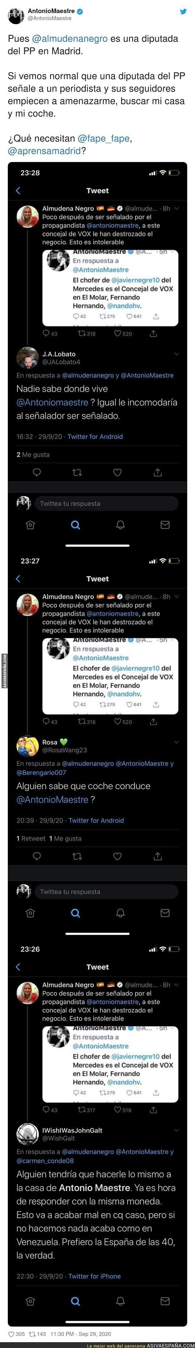 391561 - La diputada Almudena Negro señalando a Antonio Maestre en redes sociales