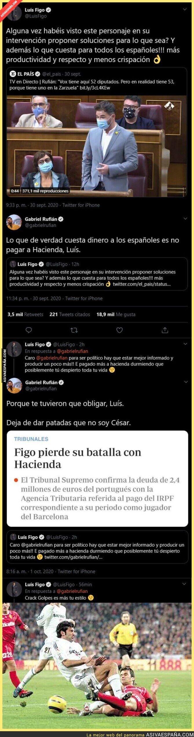 393575 - Luis Figo se mete con Gabriel Rufián por esta intervención en el Congreso y sale totalmente escaldado tras responderle el diputado