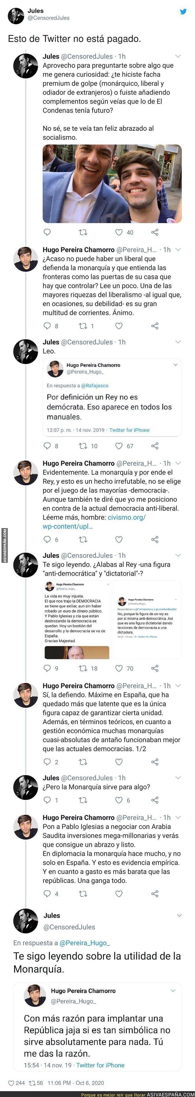 401496 - Este es el nivel de Hugo Pereira, el que antes era simpatizante del PSOE y ahora vota a VOX