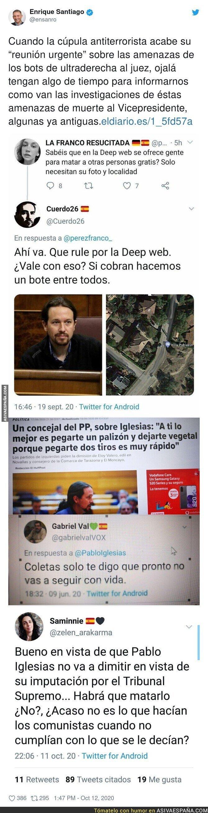411850 - Las amenazas de muerte que recibe Pablo Iglesias a diario y que la justicia no hace nada