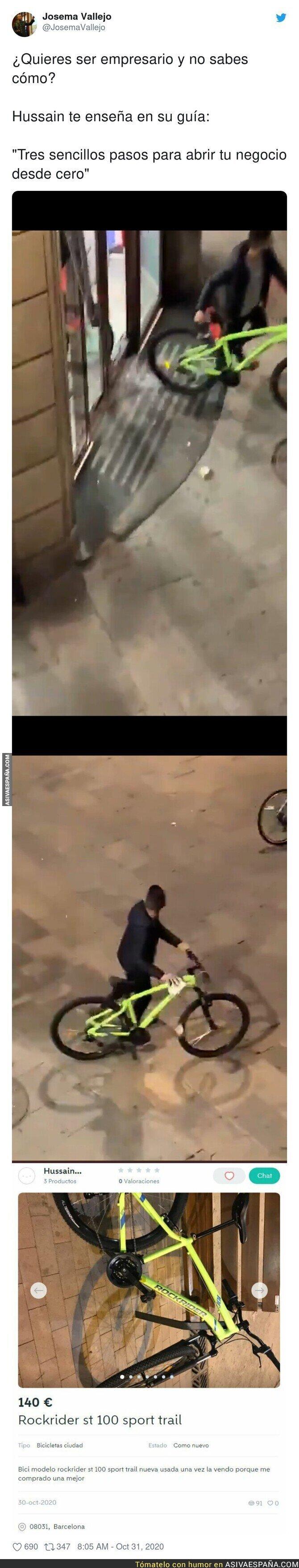 442248 - Pillan a uno de los vándalos de Barcelona robando una bici y más tarde intentándola vender en Wallapop