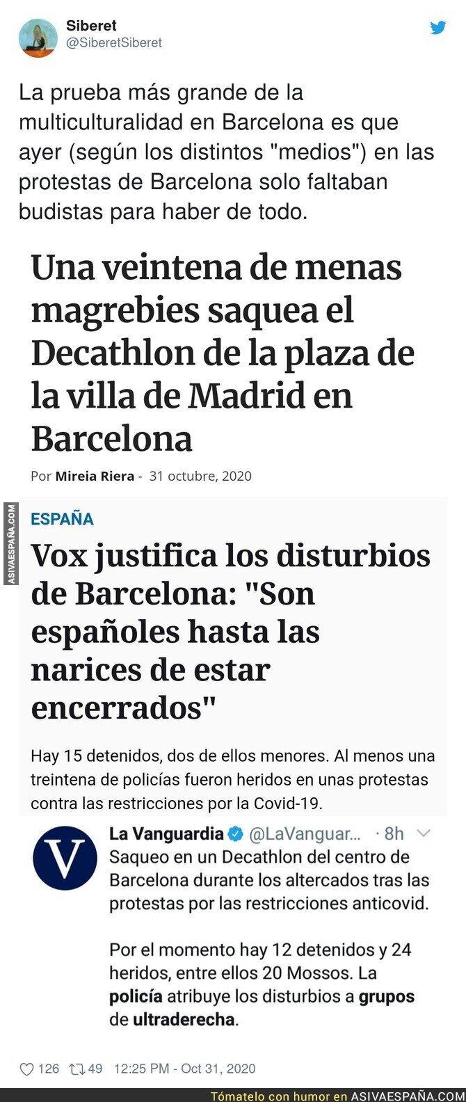 442451 - En los disturbios de Barcelona se juntó de todo